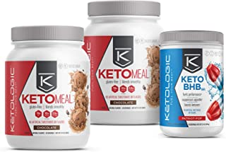 KetoLogic Keto 30 Challenge Bundle: Tim Tebow Approved | 30-Day Supply Keto Meal Replacement Shakes with MCT & Bhb Exogenous Ketones Powder | Kickstarts Your Ketogenic Diet | Chocolate & Patriot Pop