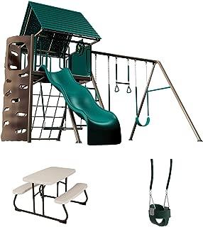 LIFETIME 90188 Playset, Children's Picnic Table and Bucket Swing Bundle, Earthtone