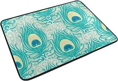 MASSIKOA Peacock Feathers Non Slip Backing Entrance Doormat Floor Mat Rug Indoor Outdoor Front Door Bathroom Mats, 23.6 x 15.