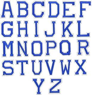 26Pcs Azul Letra Parches Termoadhesivos, A-Z Alfabeto Carta Parches Adhesiva Apliques de Costura, Hierro Coser en Parche d...