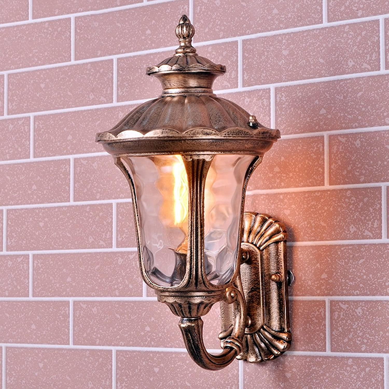 Pionthx Antikes rustikales Aluminiumwasserdichter einzelner Hauptwand-Wand-Lampen-LED E27 Glaswand-helle Wandleuchte für Korridor Patio Hallway Garden (Gre   S)