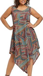 943d8250d9c0 Sandwind Plus Size Midi Dress Sleeveless Flower Printing Maxi Dress