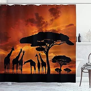 Ambesonne Wildlife Decor Shower Curtain, Safari with Giraffe Crew with Majestic Tree at Sunrise in Kenya, Fabric Bathroom Decor Set with Hooks, 84 Inches Extra Long, Orange Black