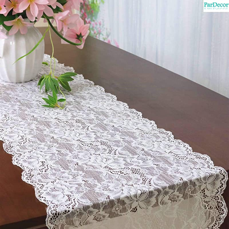 Vintage Lace Table Runner 12x120 Inch Wedding Bridal Lace Table Runners Flower Table Runner Tea Party Tablecloth White Lace Runner