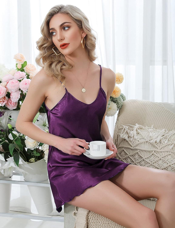 Women's Satin Nightgown Sexy V Neck Lingerie Chemises Sleepwear Short Nightwear Silk Slip Dress
