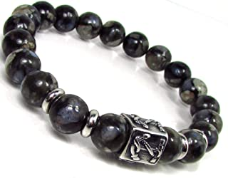Llanite Mens Bracelet with 316L Stainless Steel,Que Sera Bracelet,Anchor Bracelet,Mens Gemstone Bracelet,Mens Beaded Bracelet