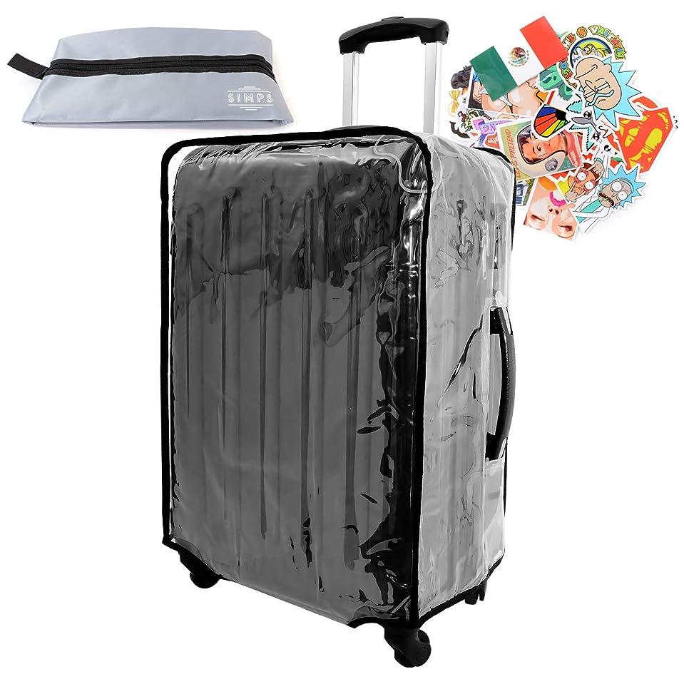 抑止する子供時代規模【SIMPS】スーツケースカバー キャリーカバー 防水 透明 クリア 簡単装着 18 20 22 24 28 30 インチ 幅広く 対応 旅行 出張 収納袋 ステッカー30枚付き