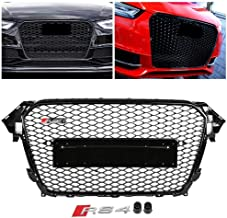 FidgetKute RS4 Euro Type Front Hex Mesh Honeycomb Grill Gloss Black for for Audi A4/S4 B8.5