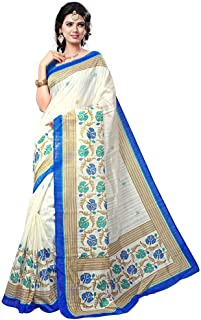 Women's White Bhagalpuri Silk Printed SareeWith Unstitched Blouse