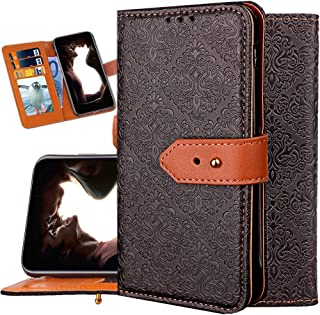 iPhone 8 Plus Case Wallet,iPhone 7 Plus Wallet Case for Women,Auker Vintage Mural Folio Flip Leather Fold Stand Shockproof Body Protective Buckle Purse Case with 3 Card Holder/Cash Pocket (Emboss)