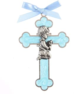 Baby Boy Crib Cross, Baptism Gift, Baby Shower Gift, Holy Communion Christening Keepsake with Satin Blue Ribbon, US001 (Boy)