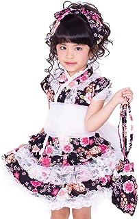 ノースリーブ浴衣ドレス 5点セット 可愛さ際立つ黒の和柄&レース 浴衣セパレート 上下 帯 髪飾り 巾着の5点セット