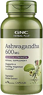 GNC Herbal Plus Ashwagandha 600mg, 60 Capsules, Supports a Healthy Response to Stress