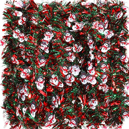 EBOOT 6 Pieces 39.4 Ft Christmas Tinsel Garland Mixed Color Metallic Twist Garland Snowman Chunky Tinsel Decoration for Christmas Party Supplies Christmas Tree Decorations