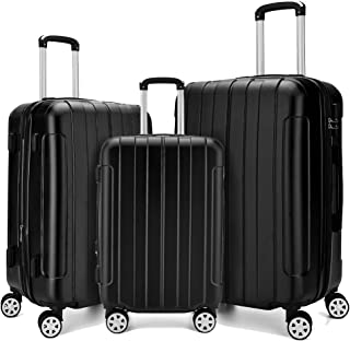 Fochier 3 Piece Expandable Spinner Luggage Set Hard Shell Lightweight Suitcase Black