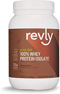 Amazon Brand - Revly 100% Grass-Fed Whey Protein Isolate Powder, Chocolate, 2.11 lbs, 30 Servings, Gluten Free, Non-GMO, No added rbgh/rbst‡