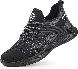 AONEGOLD Chaussures de Sécurité pour Hommes Chaussures à Lacets en Acier Chaussures de Travail Légères(Black, 49)
