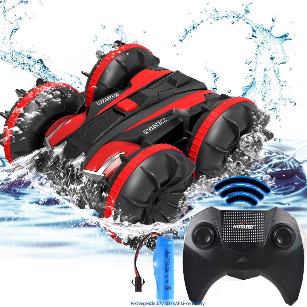 FSTgo Remote Control Car Toys for Boys Girls 2.4Ghz Amphibious RC Trucks 4x4 Off Road Electric Speed Racing Boats Stunt Vehicle Indoor Outdoor Water Beach Pool Toys Gift for Kids