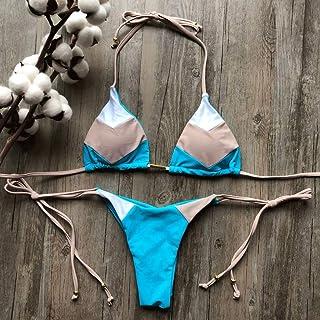 JJZXD Bikini Thong Bikini Set Halter Swimwear Women Patchwork Swimsuit Female Bathing Suit Bandage New (Size : Large)