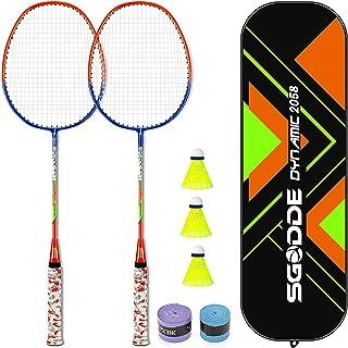 SGODDE Badminton Racket Set of 2, Badminton Set Including 3 Nylon Badminton birdies / 1 Badminton Bag, 2 Grips, Portable Badminton Racquet for Beginners Adults