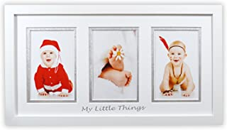 Golden State Art, Baby Frames Collection, 8.5x16.3-inch Photo Wood Frame with White/Silver Double Mat for 3 4x6-inch Pictures, White