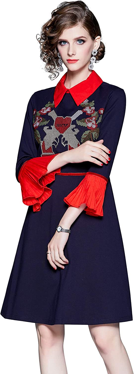 LAI MENG FIVE CATS Women's Collared Neck Embroidered Holiday Cocktail Party Mini Dress