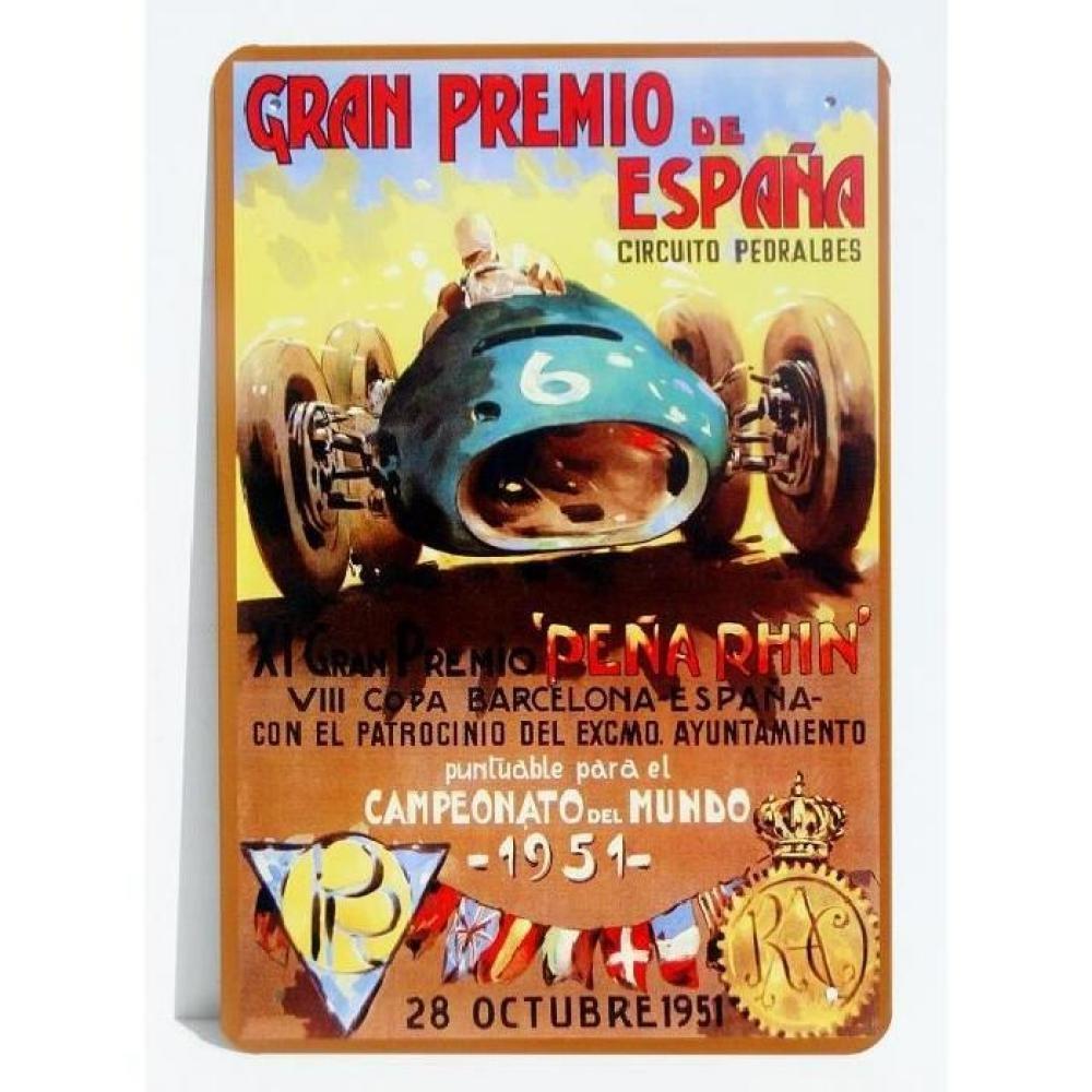 Placa Publicitaire Vintage de Metal gran premio de España gran premio de España 1951 30 x 20 cm: Amazon.es: Hogar