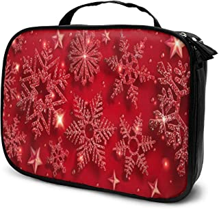Cosmetic Bag Christmas Shining Red Snowflake Travel Makeup Bag Anti-wrinkle Cosmetic Case Multi-functional Storage Bag Large Capacity Makeup Brush Bags Travel Kit Organizer Women's Travel Bags
