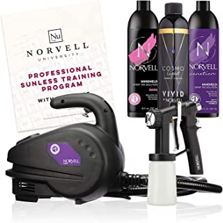 Norvell Sunless Kit – M1000 Mobile HVLP Spray Tan Airbrush Machine + 8 oz Tanning..