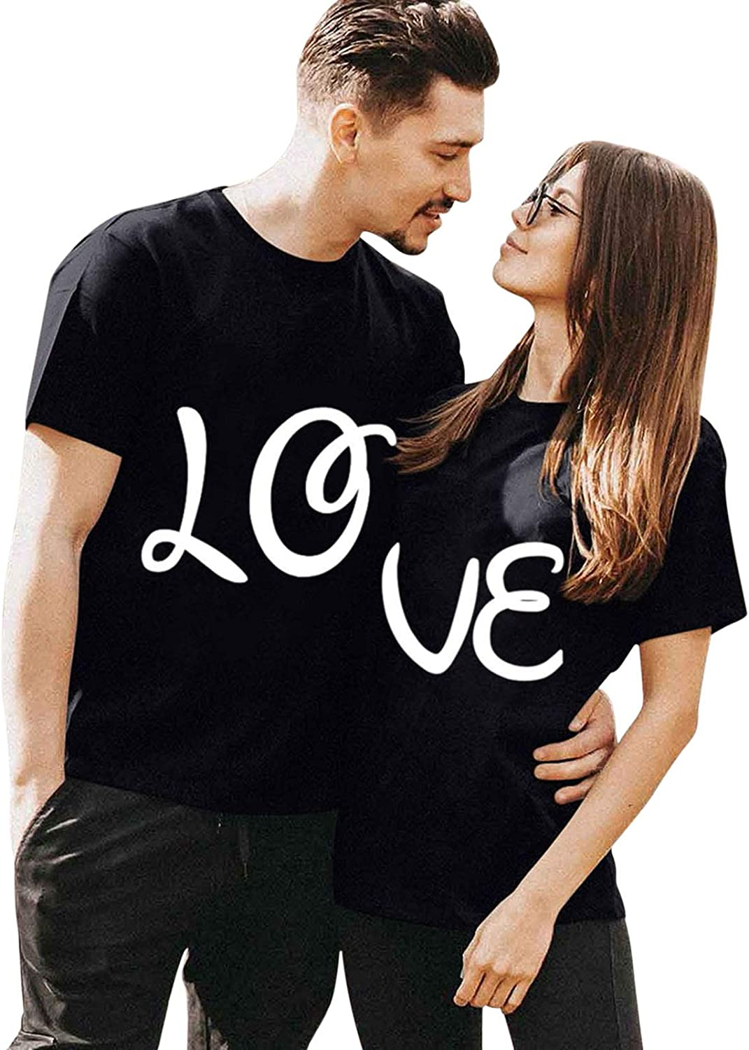 Valentine Graphic Tees Couple Matching Shirts Short Sleeve Heart Printed T-Shirt Blouse Tops Clothes for Men Women