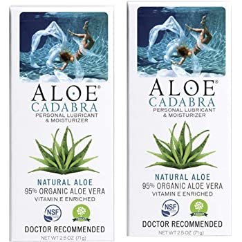Aloe Cadabra Natural Personal Lube, Organic Best Lubricant Oral Gel for Her, Him & Couples, Unscented, 2.5 oz (Pack of 2)