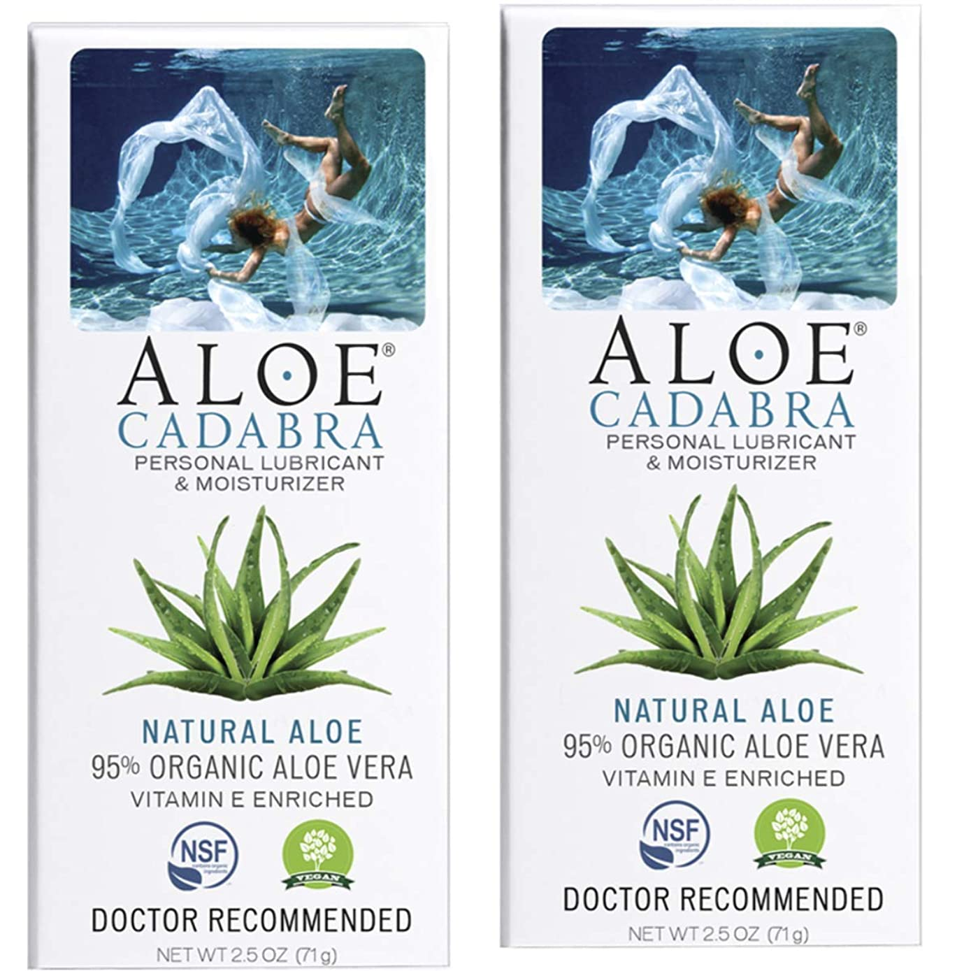 Aloe Cadabra Organic Personal Lubricant & Moisturizer, Natural Sex Lube Oral Gel for Her, Him & Couples, Unscented, 2.5 oz (Pack of 2)