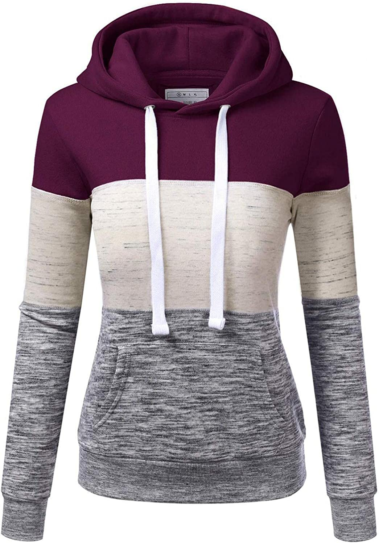 POLLYANNA KEONG Hoodies for Women,Color Block Long Sleeve Hoodie Sweatshirts Loose Casual Soft Drawstring Jackets Coat