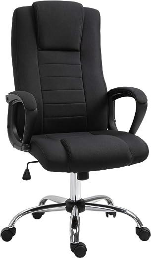 Vinsetto Bürostuhl Computerstuhl mit Wippenfunktion Kopfstütze ergonomischer Schreibtischstuhl drehbar höhenverstellbar Leinen-Touch Schwarz 62 x…
