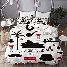 GEEVOSUN Duvet Cover Set, Seamless Australia Travel icon Retro Illustration, Decorative 3 Piece Bedding Set with 2 Pillow Shams