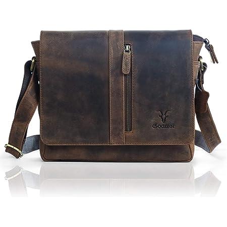 "Goatter Mens Hunter Leather 11"" Inch Messenger Bag (Coffee -1)"