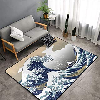 NiYoung Bedroom Living Room Kitchen Queen Size Kitchen Rugs Home Decor - Japanese Painting Art Nautical Boats Great Wave Floor Mat Doormats Quick Dry Throw Bath Rugs Exercise Mat Throw Rugs Runner