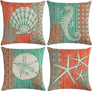 "ULOVE LOVE YOURSELF 4Pack Ocean Theme Throw Pillow Covers Seahorse Seashell Starfish Nautical Sea Pillow Covers Square Cushion Pillowcase Decorative Pillow Shams 18""×18"" (Orange)"