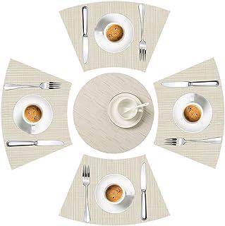 LYPER Lot de 5 sets de table pour table ronde - Décoratifs avec bords biseautés et résistants à la chaleur - Antidérapants...