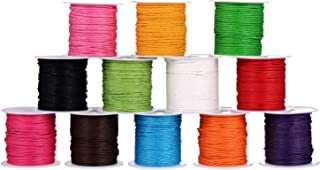 Waxed Thread Braided Strings Imitation Leather for Craft Making 12 Rolls, 12 Colors