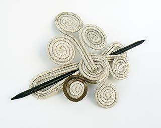 Rustic Hair fork Cream slide barrette Delicate shawl brooch Unique hair clip Beige hair holder Retro hairstyle
