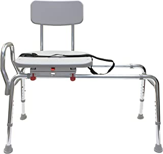 Swiveling and Sliding Bathtub Transfer Bench and Shower Chair (Reg) (77662). Swiveling and Sliding system, Multiple Safety Features, Tool-Less Assembly, Height Adjustable and High Weight Capacity.