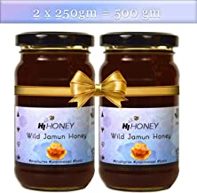 Hi Honey Wild Jamun Organic Honey by Saurashtra Honey Bee Farm  an Ayurvedic Remedy for Weight Loss, Cough and Digestive Disorders   Raw, Unprocessed - 530 Gram (Pack 2)