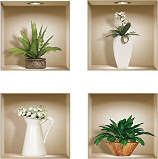the Nisha 4 PC Pack Art Magic Pictures Peel and Stick 3D Vinyl Removable Wall Sticker Decals DIY Sticky Backsplash (Lighting Spots), Green and White Vase 400N