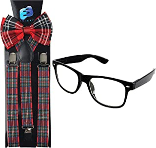Nerd Halloween Costume for Men & Women Suspender Bowtie Glasses Included Gift Matching Set