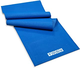 YOGU Exercise Yoga Mat 1/4 Inch Thick Multi-Purpose Lightweight Pilates Fitness Mats Durable Washable Non-Slip Surfaces Sweat-Proof Gym Workout Mat with Carrier Strap - 6 FT x 2 FT