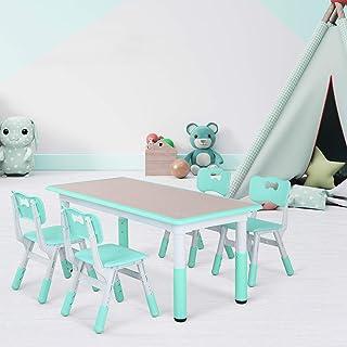 Bamny Ensemble Table et Chaises pour Enfant, Inclus 1 Table et 4 Chaises, Table à Dessin Réglable en Hauteur pour Enfants ...