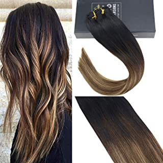 Sunny Remy Blonde Clip in Hair Extensions Balayage 20 inch Clip in Balayage Extensions Brazilian Human Hair Black to Dark Brown Mixed Caramel Blonde 7pcs/120 gram