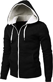 H2H Mens Casual Slim Fit Zip-up Hoodie Knitted Thermal Napping and Faux Fur Inside