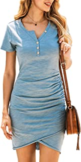 BTFBM Women�s 2020 Casual V Neck Short Sleeve Ruched Bodycon T Shirt Short Mini Dresses with Faux Button